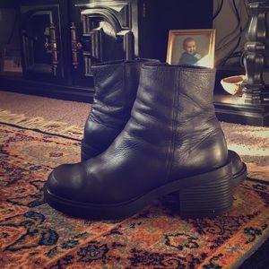 Platforms black chunky booties, genuine leather!